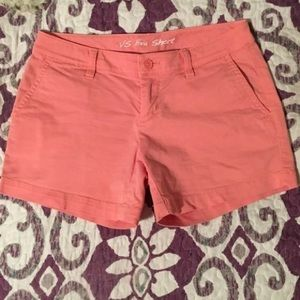Coral pink cotton shorts